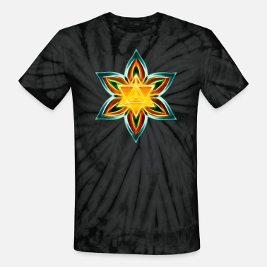 Metatrons Flower of Life, Merkaba, Spiritual Symbol, Light - Unisex Tie Dye T-Shirt