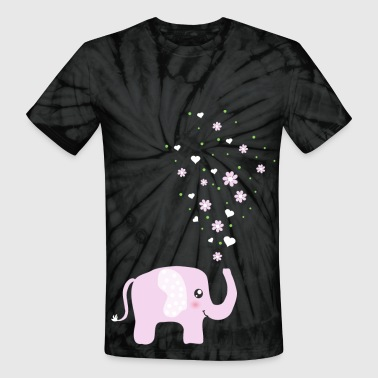 Cute Pink Elephant cartoon - Unisex Tie Dye T-Shirt