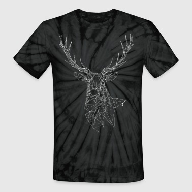 Deer with magnificent antlers of fine lines - Unisex Tie Dye T-Shirt