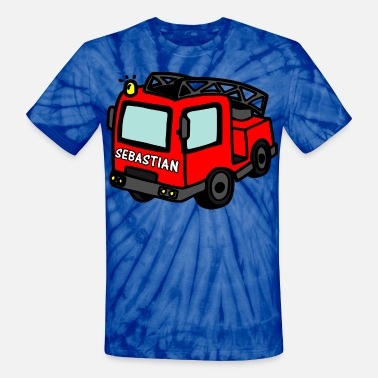 Sebastián Sebastian first name fire brigade car - Unisex Tie Dye T-Shirt