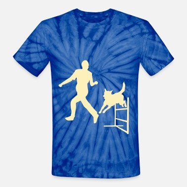 Dog Jump Silhouette Dog Jumps Agility Hurdle - Unisex Tie Dye T-Shirt
