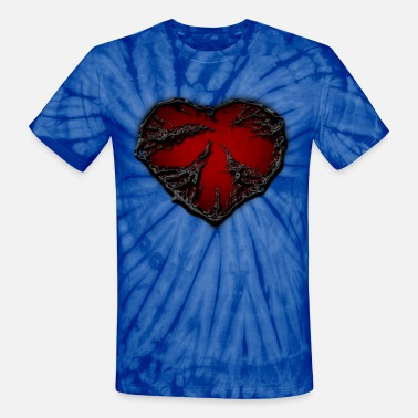 Glow-in-the-dark Heart Broken Sad dark heart - Unisex Tie Dye T-Shirt