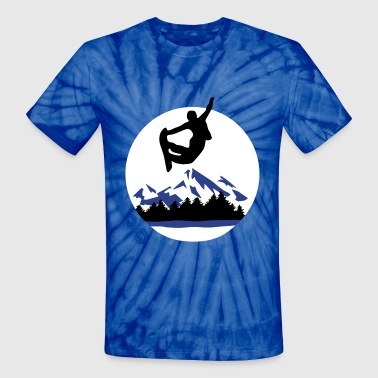 Snowboarder and Mountains, Snowboarding - Unisex Tie Dye T-Shirt