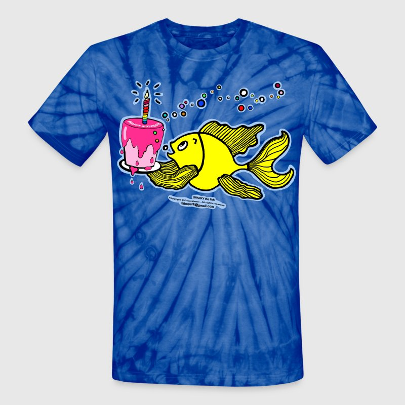 Birthday fish, Fish With Cake and Candle, By FabSpark - Unisex Tie Dye T-Shirt