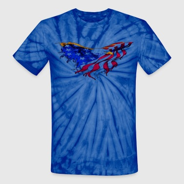 American Flag Eagle Flying Short Sleeve Tie-Dyed T-shirt - Unisex Tie Dye T-Shirt