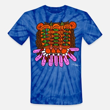 Trippy Double Lion by Mike McPuff - Unisex Tie Dye T-Shirt