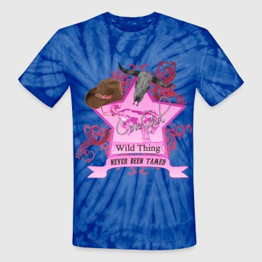 CowGirl Wild Thing never been tamed Pink - Unisex Tie Dye T-Shirt