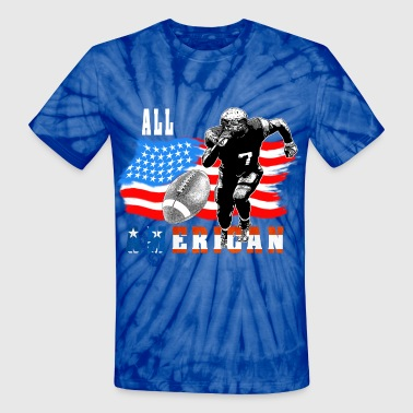 All American Football player 5 with Ball white out - Unisex Tie Dye T-Shirt