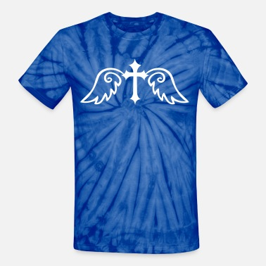 Winged Cross gothic cross with angel wings - Unisex Tie Dye T-Shirt