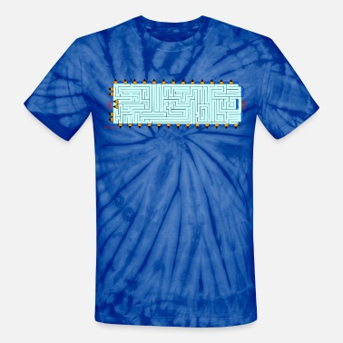 Horizontal  Blue Pencil Maze Horizontal - Unisex Tie Dye T-Shirt