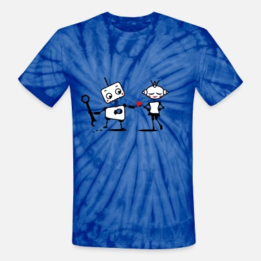 Give-away The robot gives away his heart - Unisex Tie Dye T-Shirt