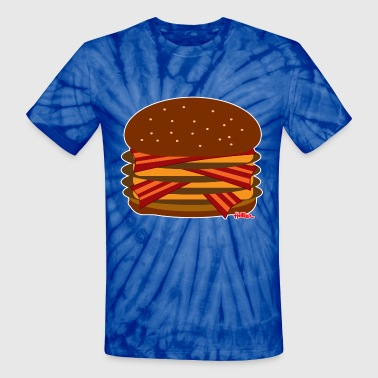 Virtual Cheeseburger - BACON Quad - Unisex Tie Dye T-Shirt