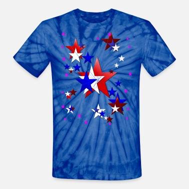 efb50efafcfe Red White And Blue Amercian Stars - Unisex Tie Dye T-Shirt