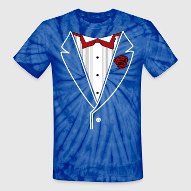 Tuxedo with Red bow tie - Unisex Tie Dye T-Shirt