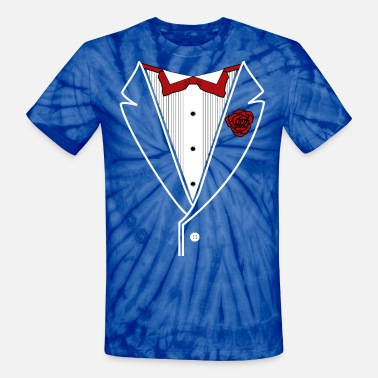 Tuxedo Bow Tuxedo with Red bow tie - Unisex Tie Dye T-Shirt