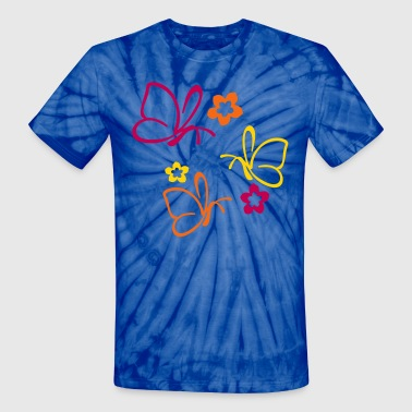 butterlies triple - Unisex Tie Dye T-Shirt