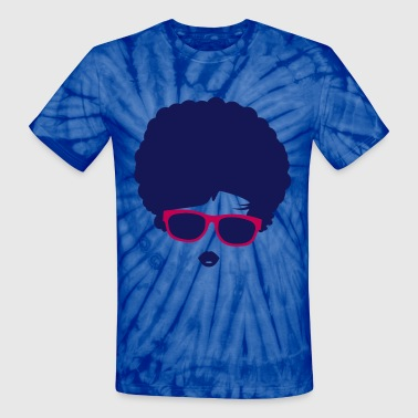 A girl with afro hairstyle and sunglasses - Unisex Tie Dye T-Shirt