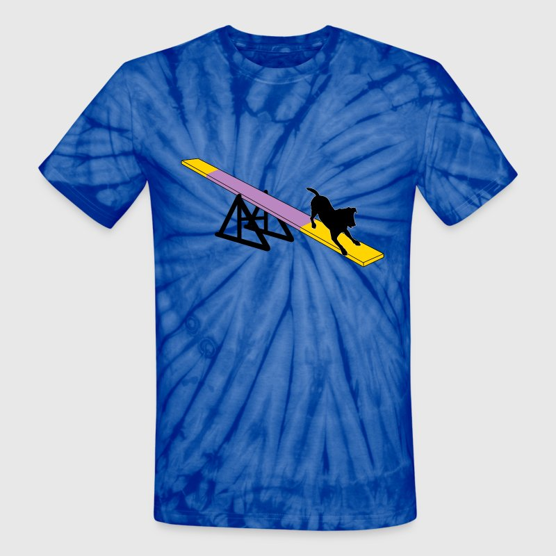 Agility Teeter with Dog - Unisex Tie Dye T-Shirt