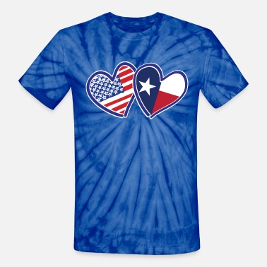 Usa Flag Heart USA-Texas-Flag-Heart - Unisex Tie Dye T-Shirt