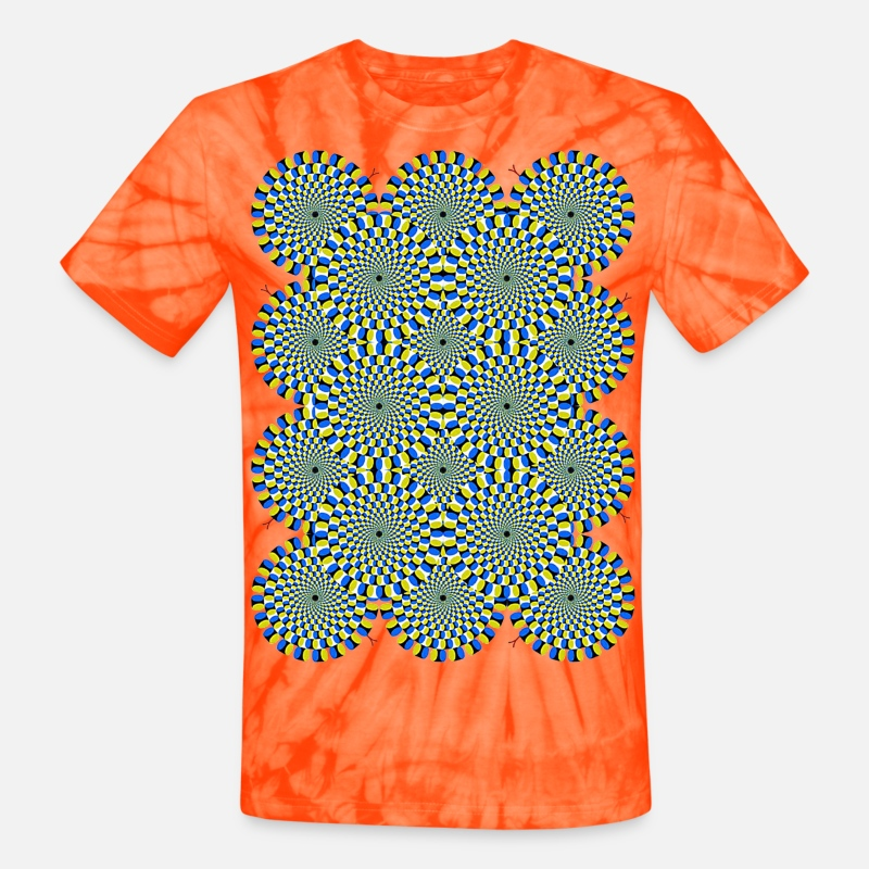 18f76d014b1f4 Moving Psychedelic Circles Unisex Tie Dye T-Shirt - spider orange