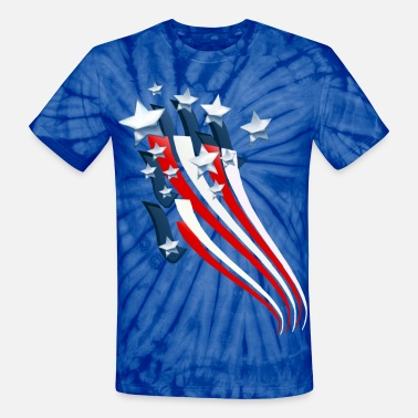 Stars And Stripes Sweeping American Flag - Unisex Tie Dye T-Shirt