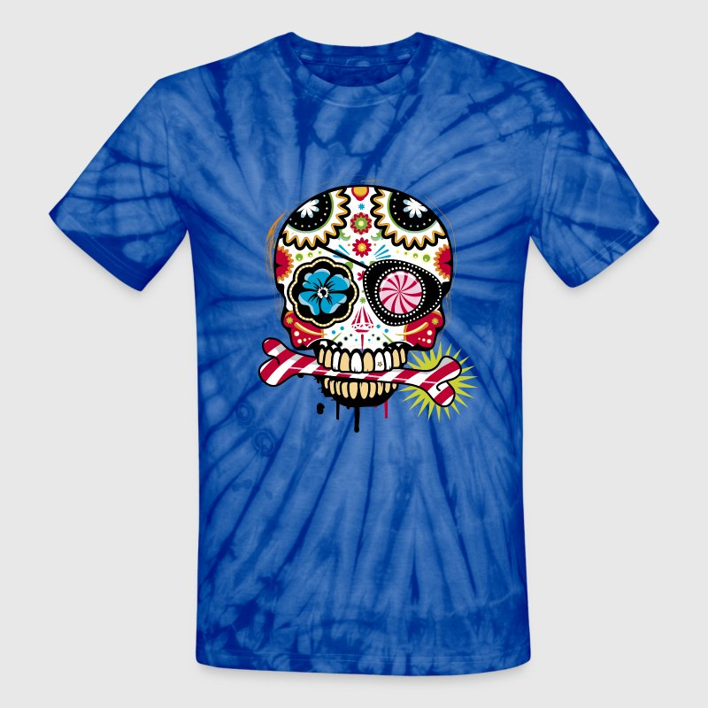 Skull with eye patch and candy cane - Unisex Tie Dye T-Shirt