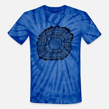 Tree Bark Wooden disc with bark - tree rings - Unisex Tie Dye T-Shirt