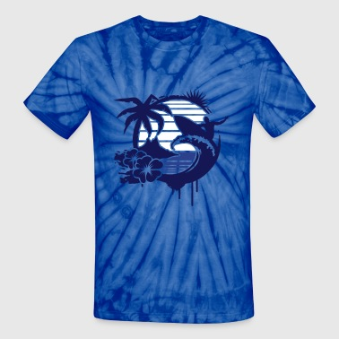 Surfing graffiti - Palm, hibiscus, island, wave and surfer with surfboard  - Unisex Tie Dye T-Shirt