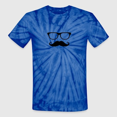Hipster Glasses and Moustache - Unisex Tie Dye T-Shirt