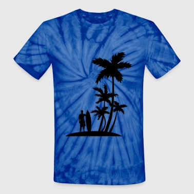 Surfer and palm trees - Unisex Tie Dye T-Shirt