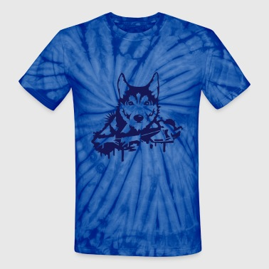 Dog Head Dog racing with Husky Head  - Unisex Tie Dye T-Shirt
