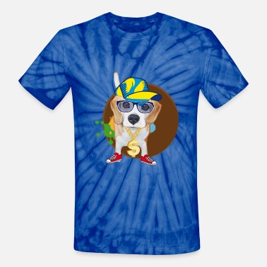 Big Gold Chain Beagle Hip Hop - Unisex Tie Dye T-Shirt