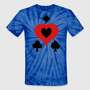 Playing Card Shapes - Unisex Tie Dye T-Shirt