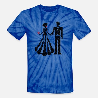Cross Dressing SILHOUETTE OF ELEGANT BRIDE AND GROOM CROSS-STITCH - Unisex Tie Dye T-Shirt