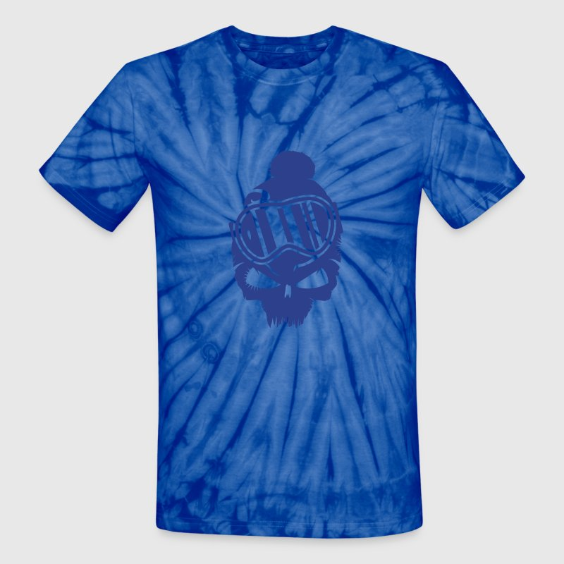 Snowboard Skull with snowboard goggles - Unisex Tie Dye T-Shirt
