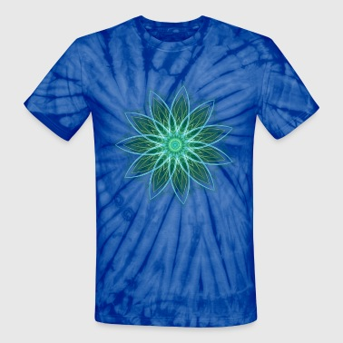 Fractal Flower Green Geometric Art - Unisex Tie Dye T-Shirt
