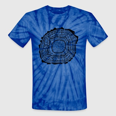 Wooden disc with bark - tree rings - Unisex Tie Dye T-Shirt
