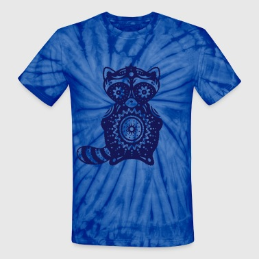A raccoon in the style of Sugar Skulls - Unisex Tie Dye T-Shirt