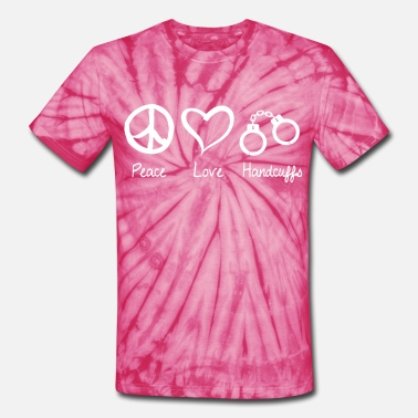 Prisonwivesapparel Peace Love Handcuffs - Unisex Tie Dye T-Shirt