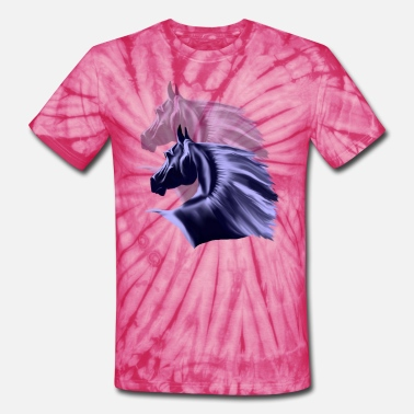 Horse Shadow Horse Silhouette Shadowed - Unisex Tie Dye T-Shirt