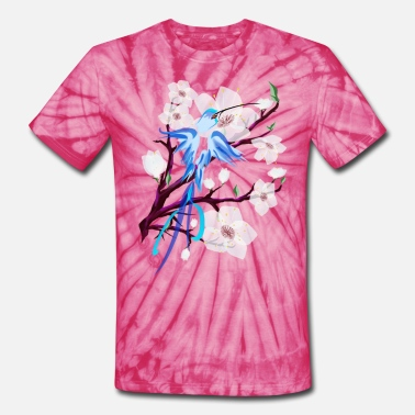 Cherry Blue Hummingbird and Cherry Blossoms - Unisex Tie Dye T-Shirt