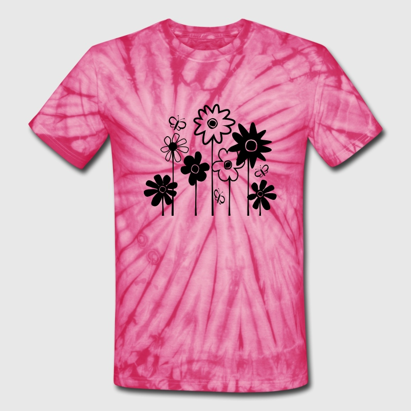 Cute Funky Assorted Flowers With Butterflies--DIGITAL DIRECT PRINT - Unisex Tie Dye T-Shirt