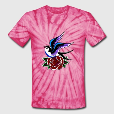 Swallow with Rose - Unisex Tie Dye T-Shirt