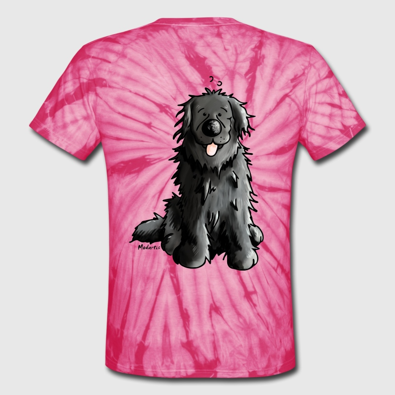 Newfoundland - Dog - Dogs - Newfi - Newf - Cartoon - Unisex Tie Dye T-Shirt