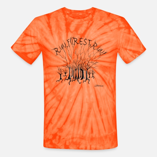 Forest T-Shirts - Run Forest Run - Unisex Tie Dye T-Shirt spider orange