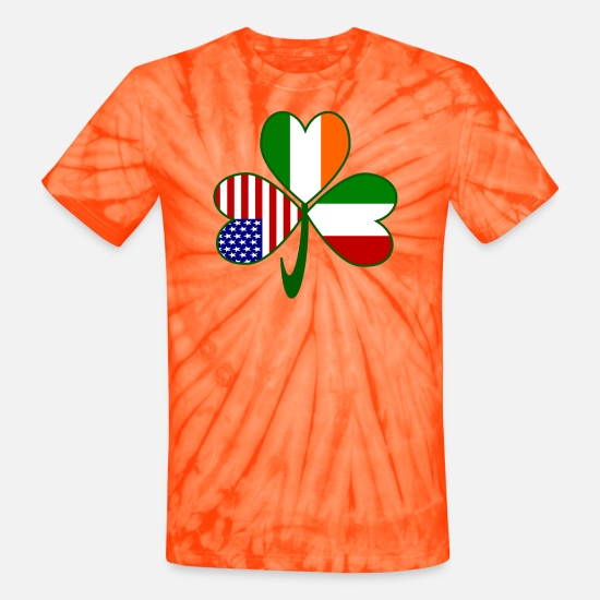 Italian T-Shirts - Italian Irish American Shamrock - Unisex Tie Dye T-Shirt spider orange