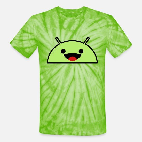 Authority T-Shirts - Happy Smiling Alien Face Emoticon - Unisex Tie Dye T-Shirt spider lime green