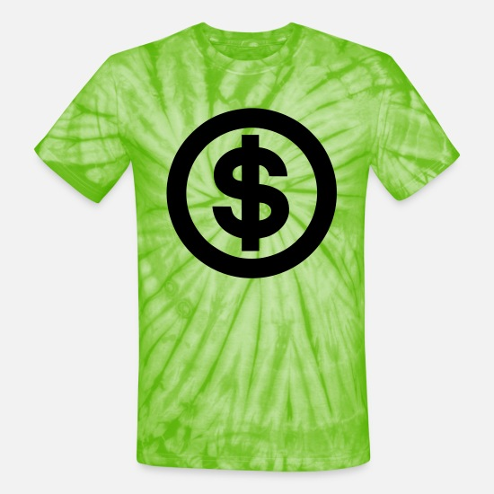 Money T-Shirts - dollar sign - Unisex Tie Dye T-Shirt spider lime green