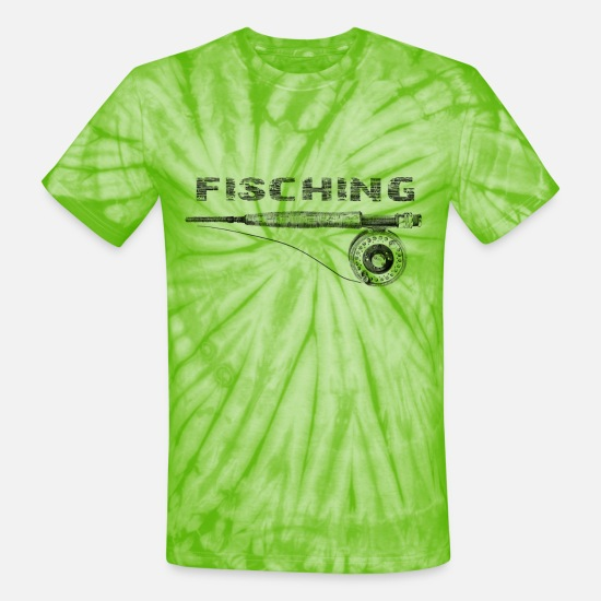Trout T-Shirts - fishing rod - Unisex Tie Dye T-Shirt spider lime green