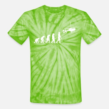 Evolution of Man to Helicopter - Unisex Tie Dye T-Shirt